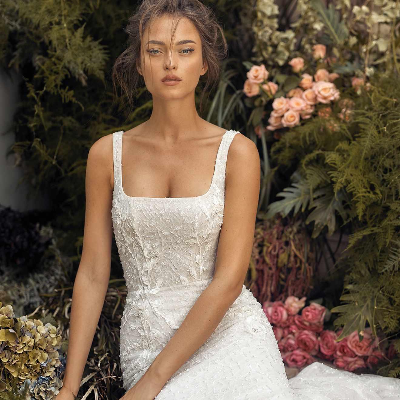 Olive wedding dress