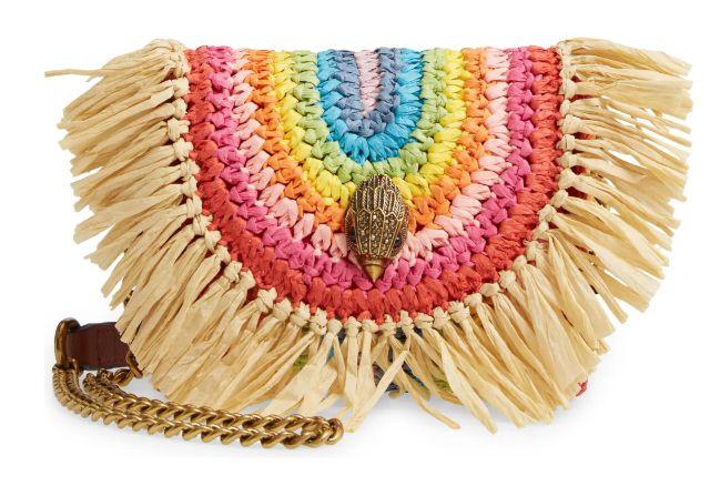 Kurt Geiger London Mini Kensington Rainbow Raffia Shoulder Bag