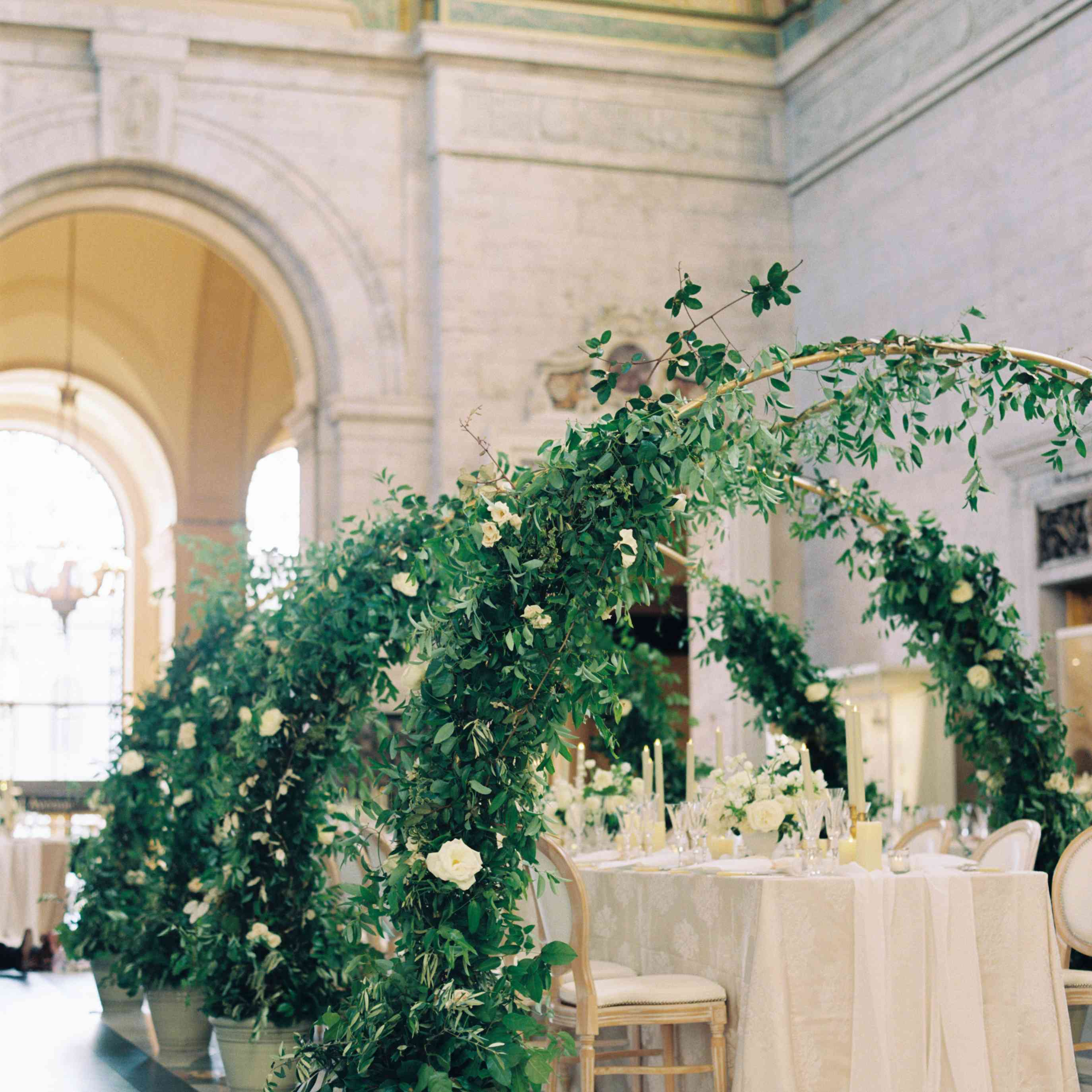 Greenery arches at the reception