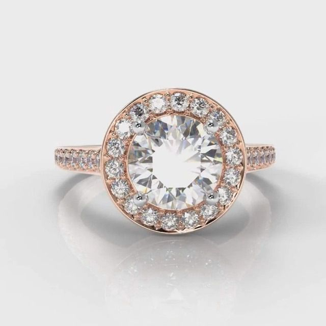 Pure Carats Pavé Halo Round Brilliant Cut Lab Diamond Engagement Ring in Rose Gold