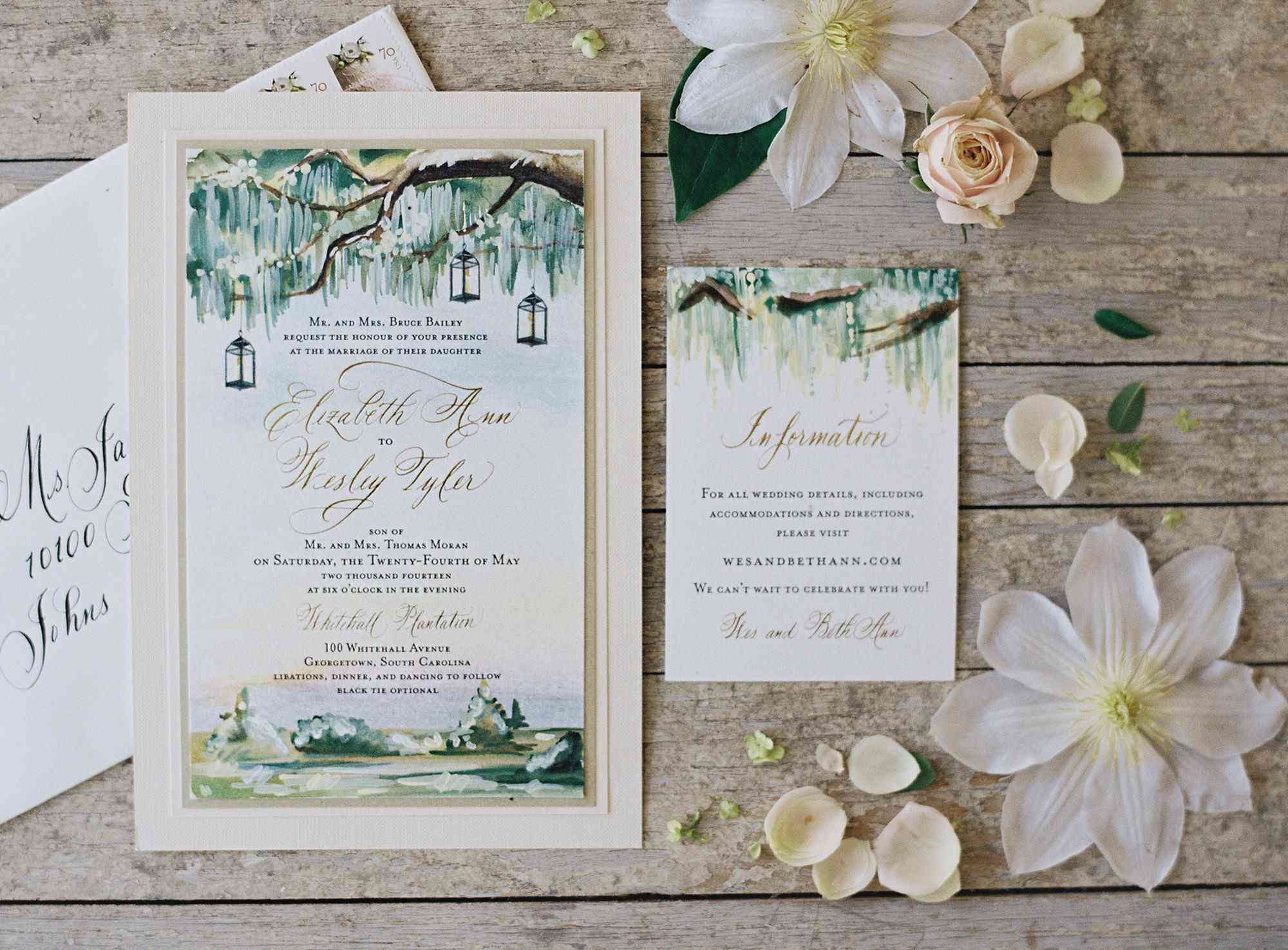 100 Personalized Floral Wedding Invitations Set ANY COLOR with Envelopes