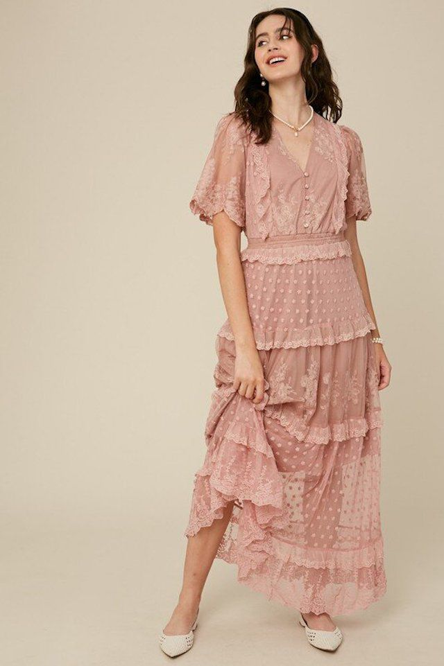 Forest Girl Clothing Vintage Look Blush Tiered Ruffle Dress $62