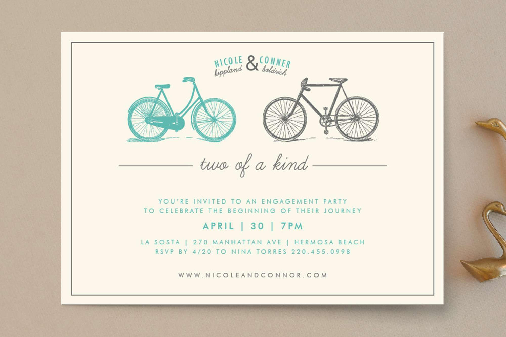 Two of a kind bicycle engagement party invitation