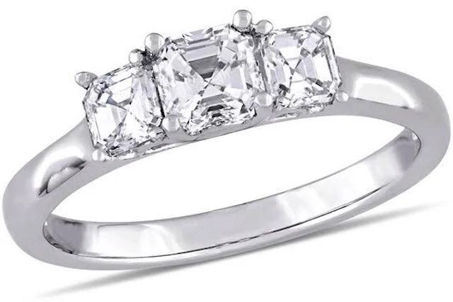 Zales Asscher-Cut Diamond Three Stone Engagement Ring