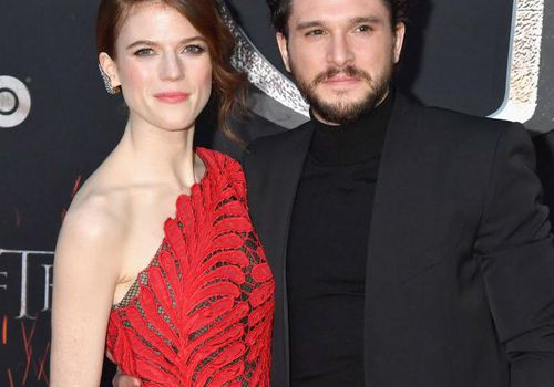 <p>ose Leslie and Kit Harington attend the