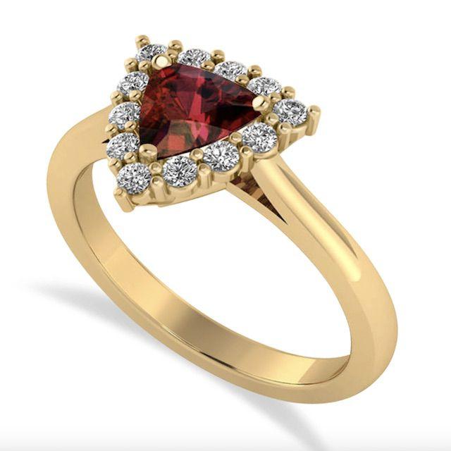 Allurez Diamond & Garnet Trillion Cut Ring