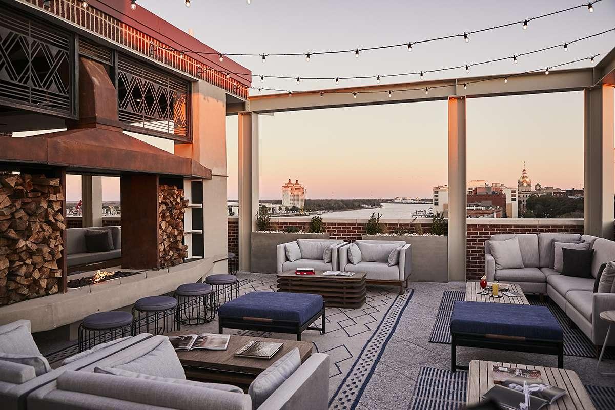 Rooftop bar at the Alida hotel in Savannah