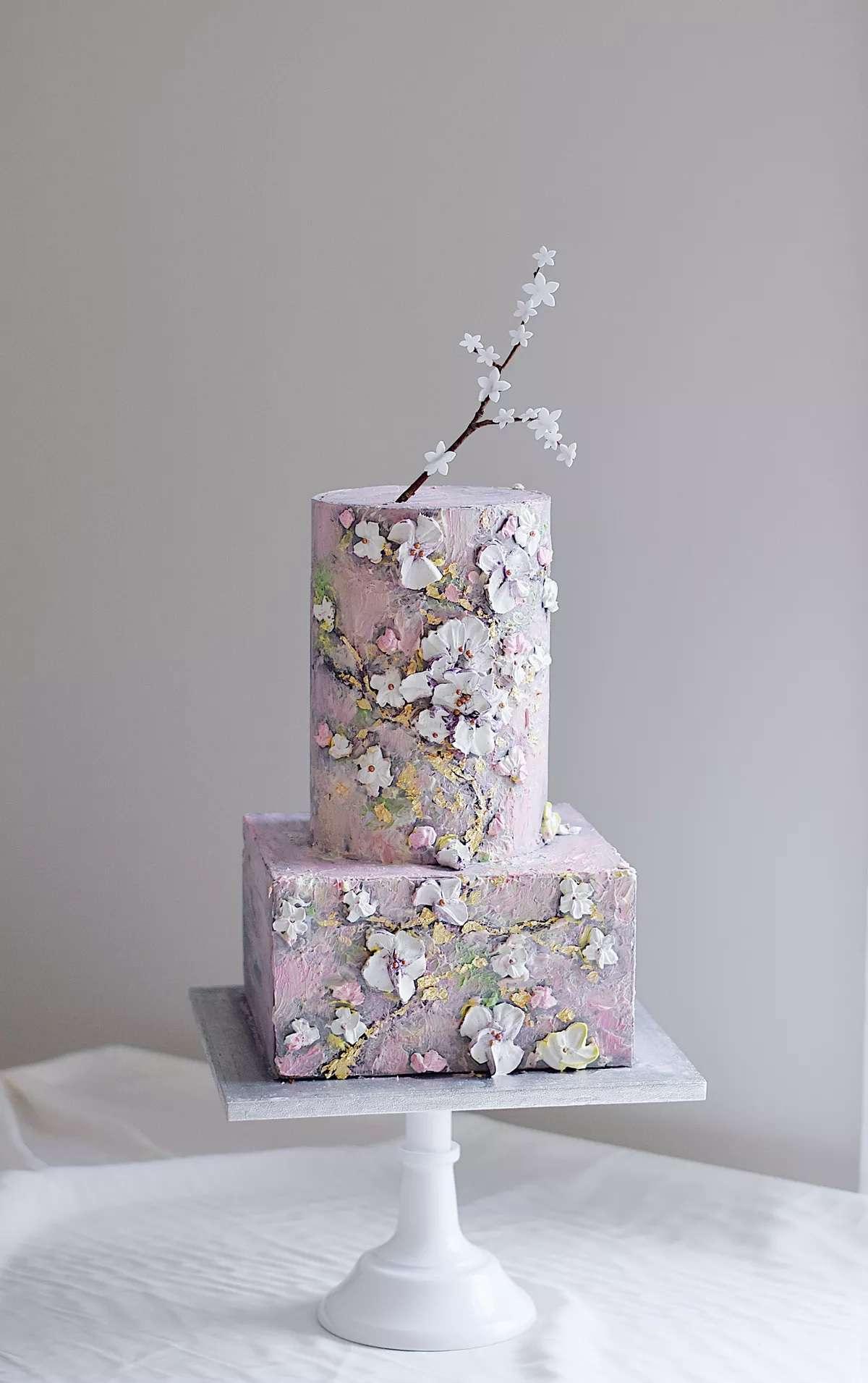 purple cherry blossom cake