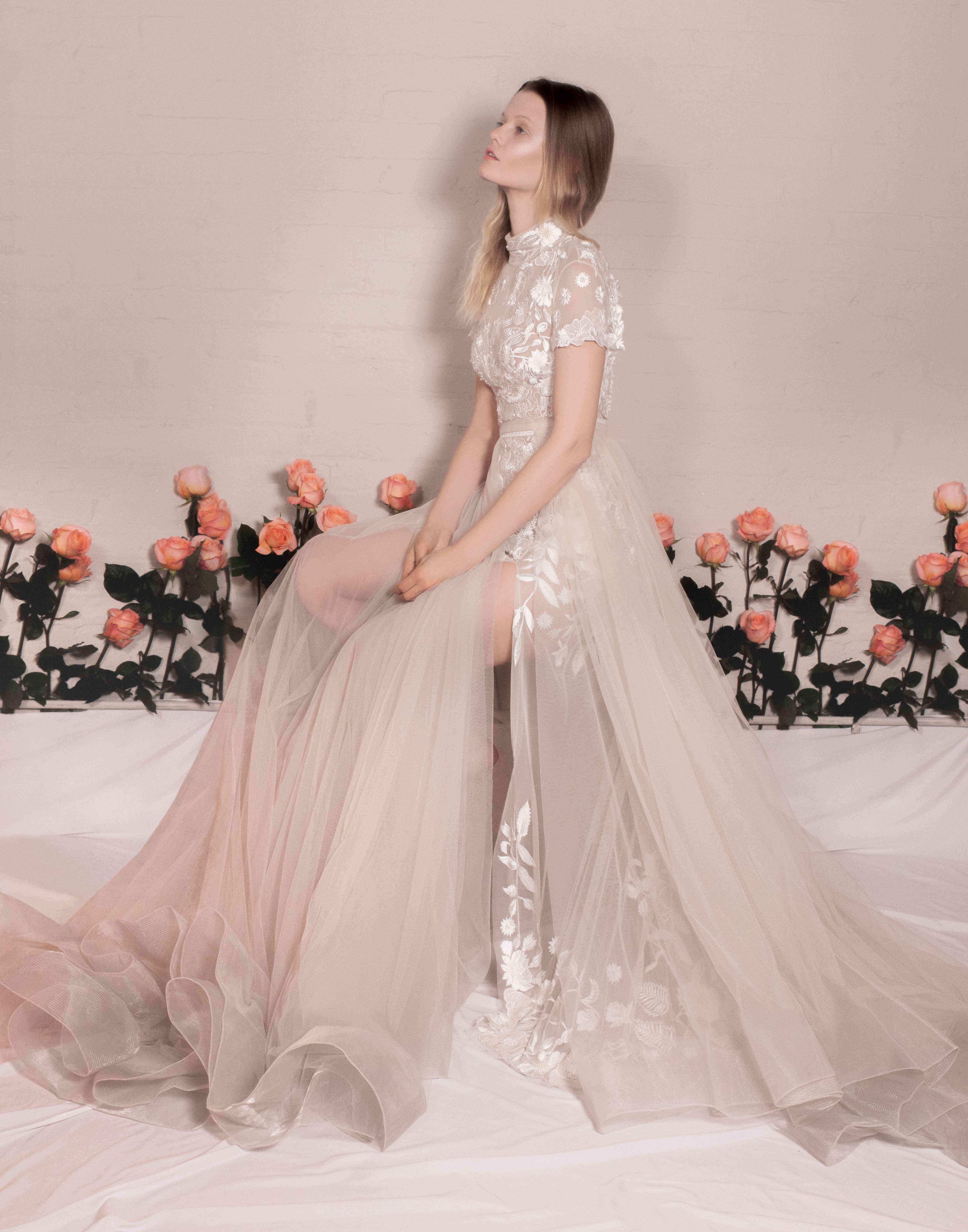Wild Rose high neck wedding dress with Blush Tulle overskirt