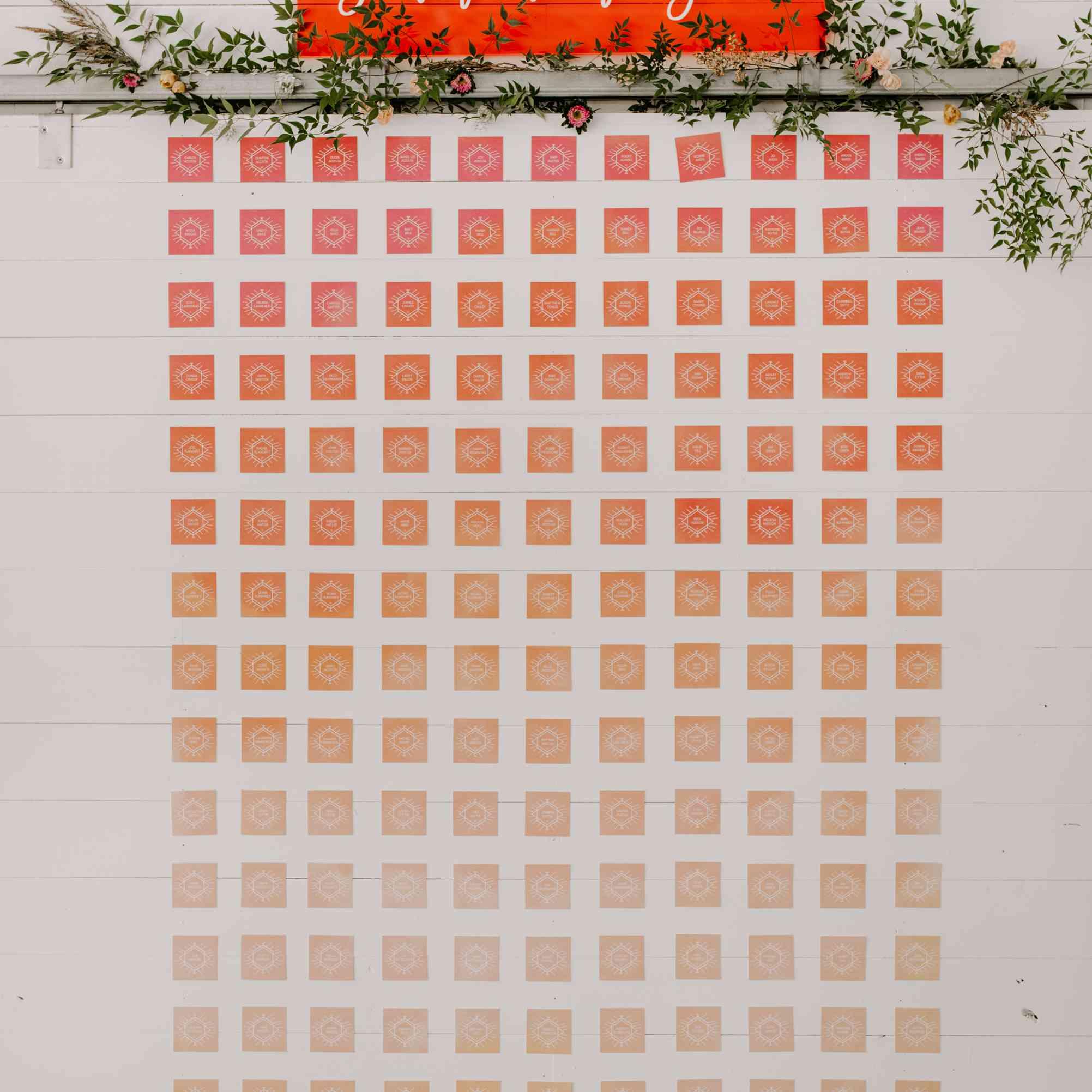 Orange gradient escort cards