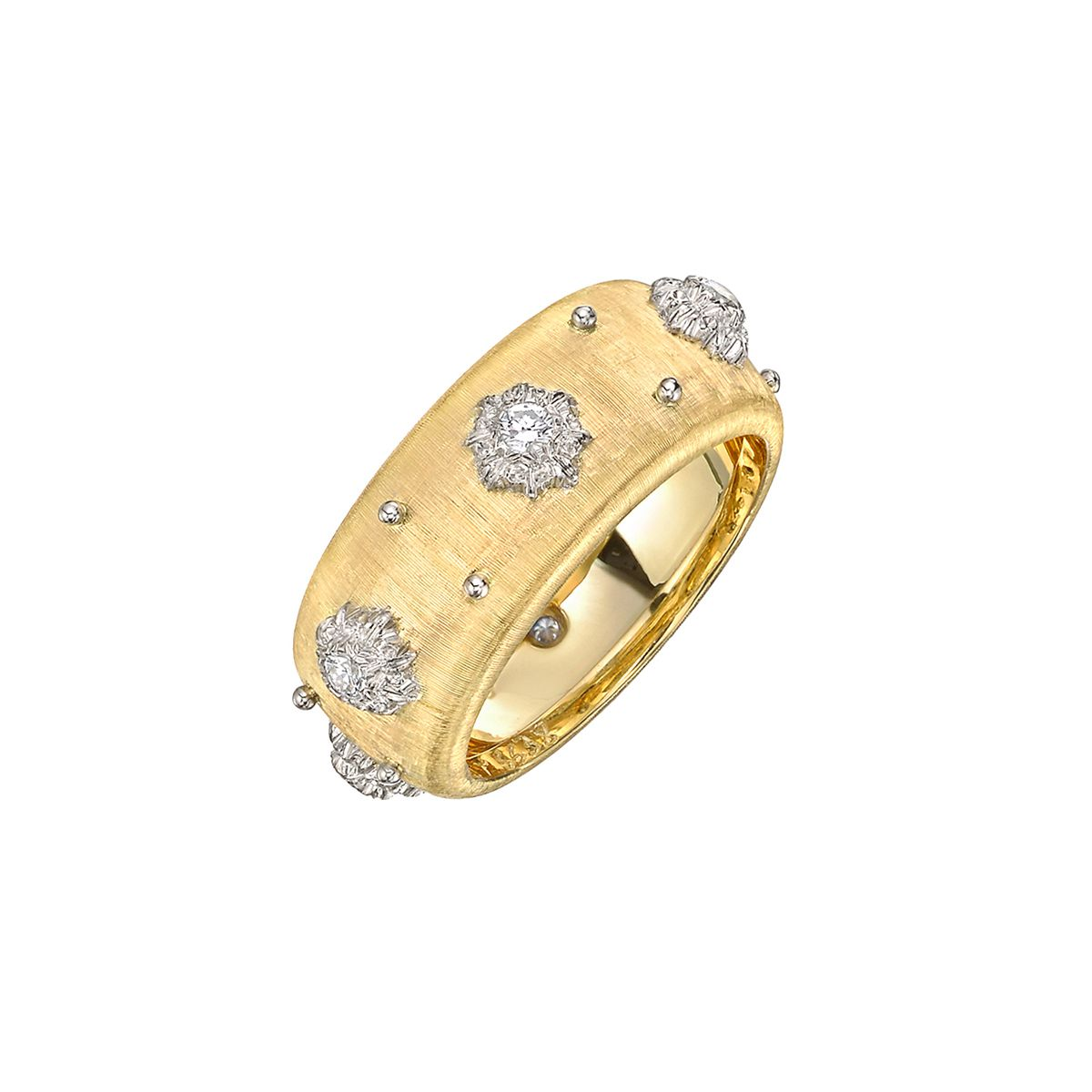 Buccellati Yellow Gold Eternelle Ring With Diamonds