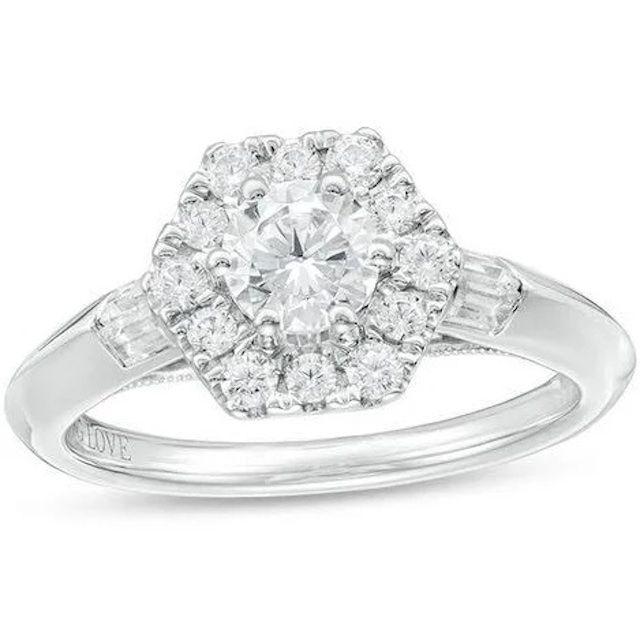 Zales Diamond Hexagon Frame Engagement Ring