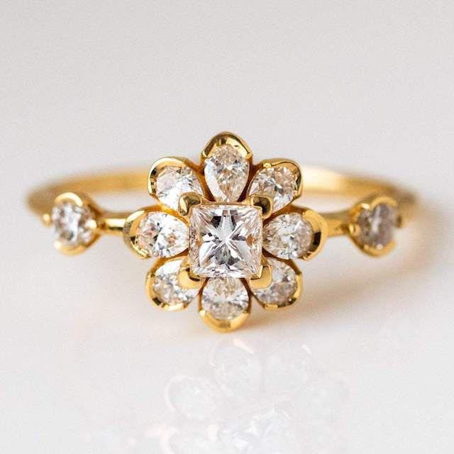 Local Eclectic Diamond Flower Engagement Ring