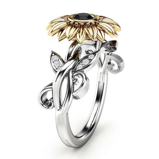 Camellia 14k Gold Black Diamond Unique Sunflower Ring