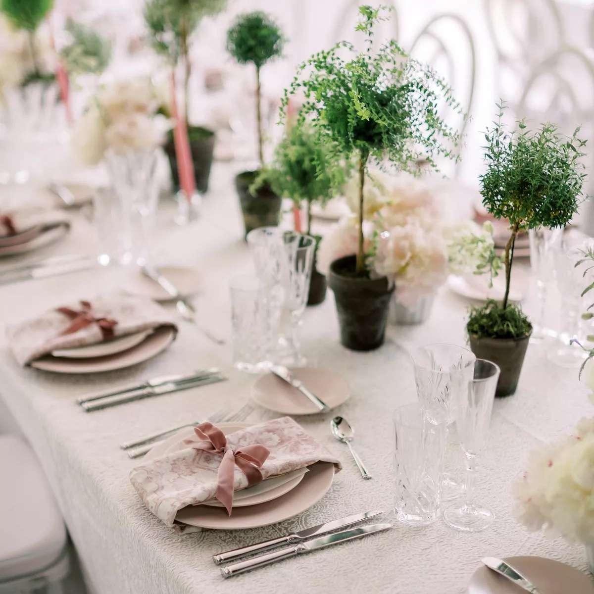 mini topiary centerpieces