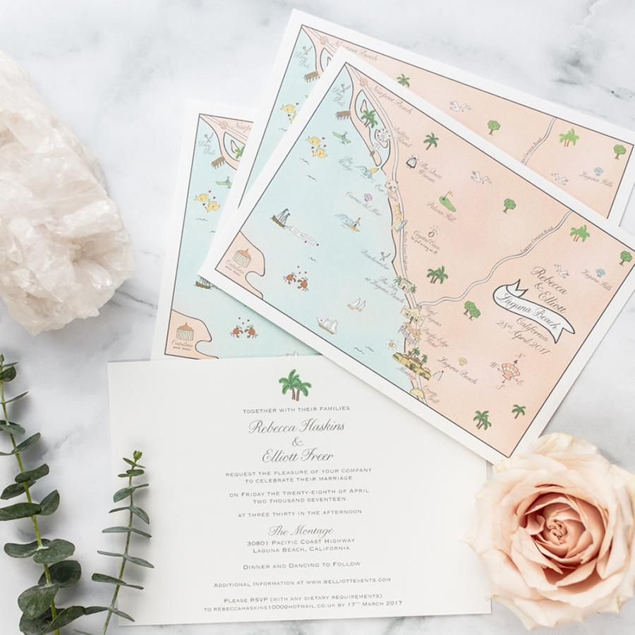 Invitation suite with a custom map