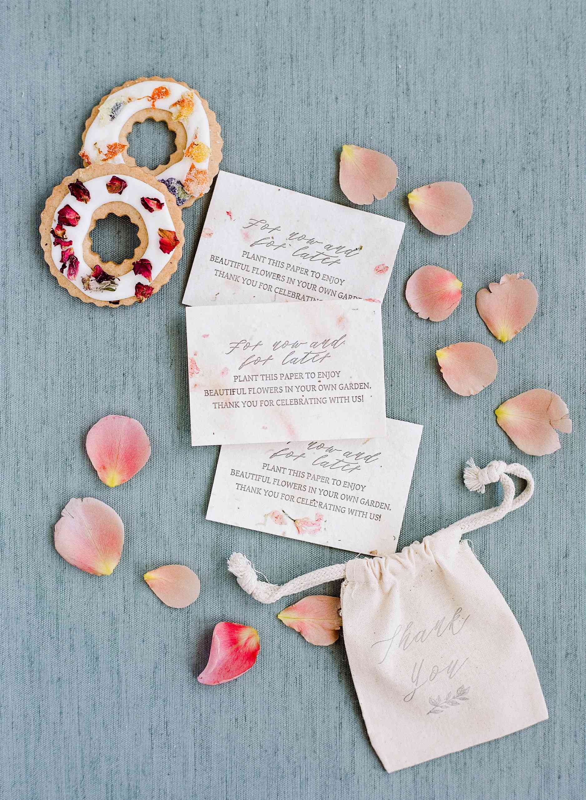 Seed paper wedding favors and edible flower round cookies
