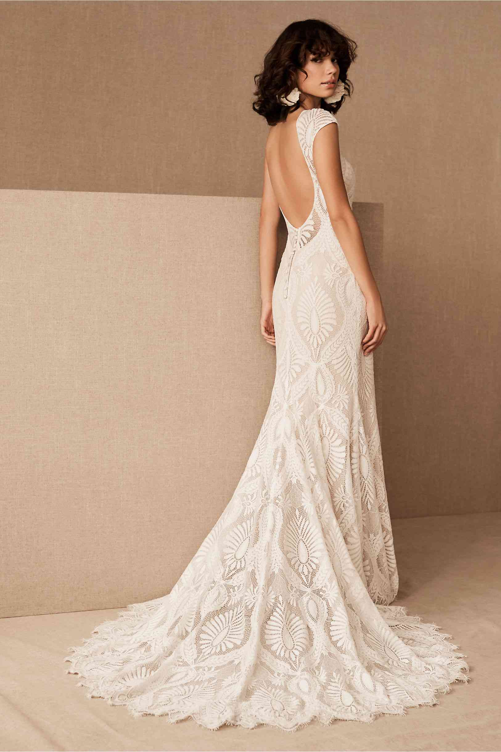 BHLDN Ludlow lace gown featuring an open back and a sweeping train