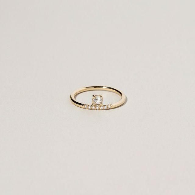 Mociun White Diamond Stacked Ring