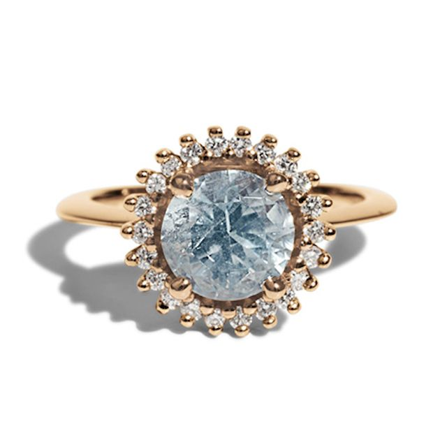 Bario Neal Stellium Aquamarine with Diamond Halo Ring