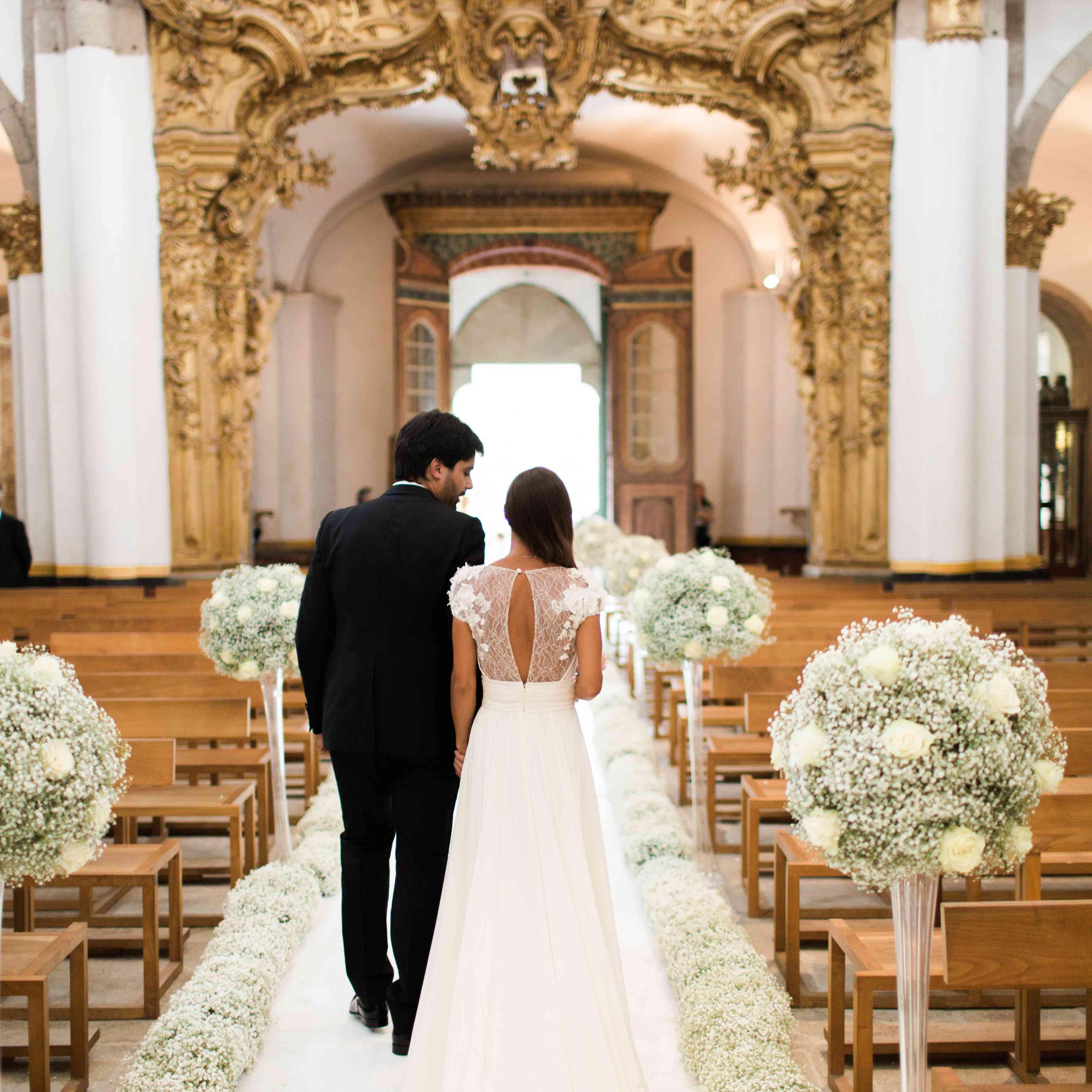 Church wedding with baby's breath
