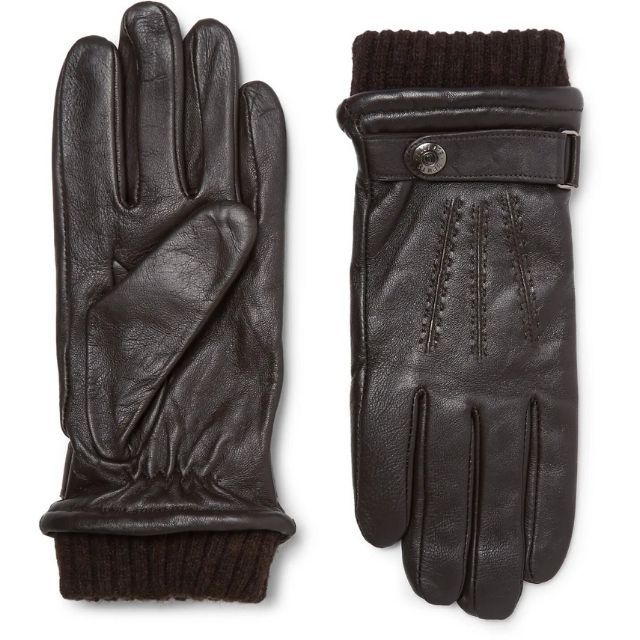 Mr Porter Henley Leather and Wool Blend Tech Gloves