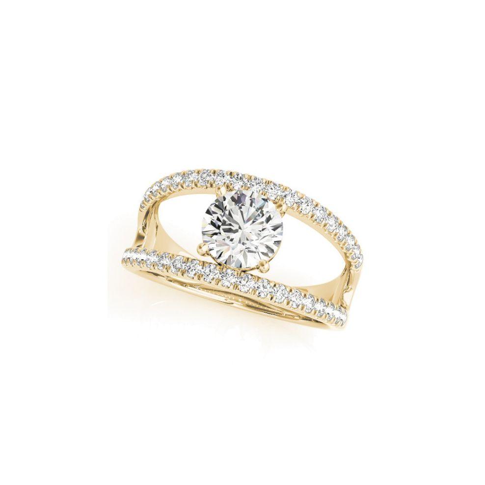 Allurez Round Diamond Split Shank Engagement Ring 14K Yellow Gold