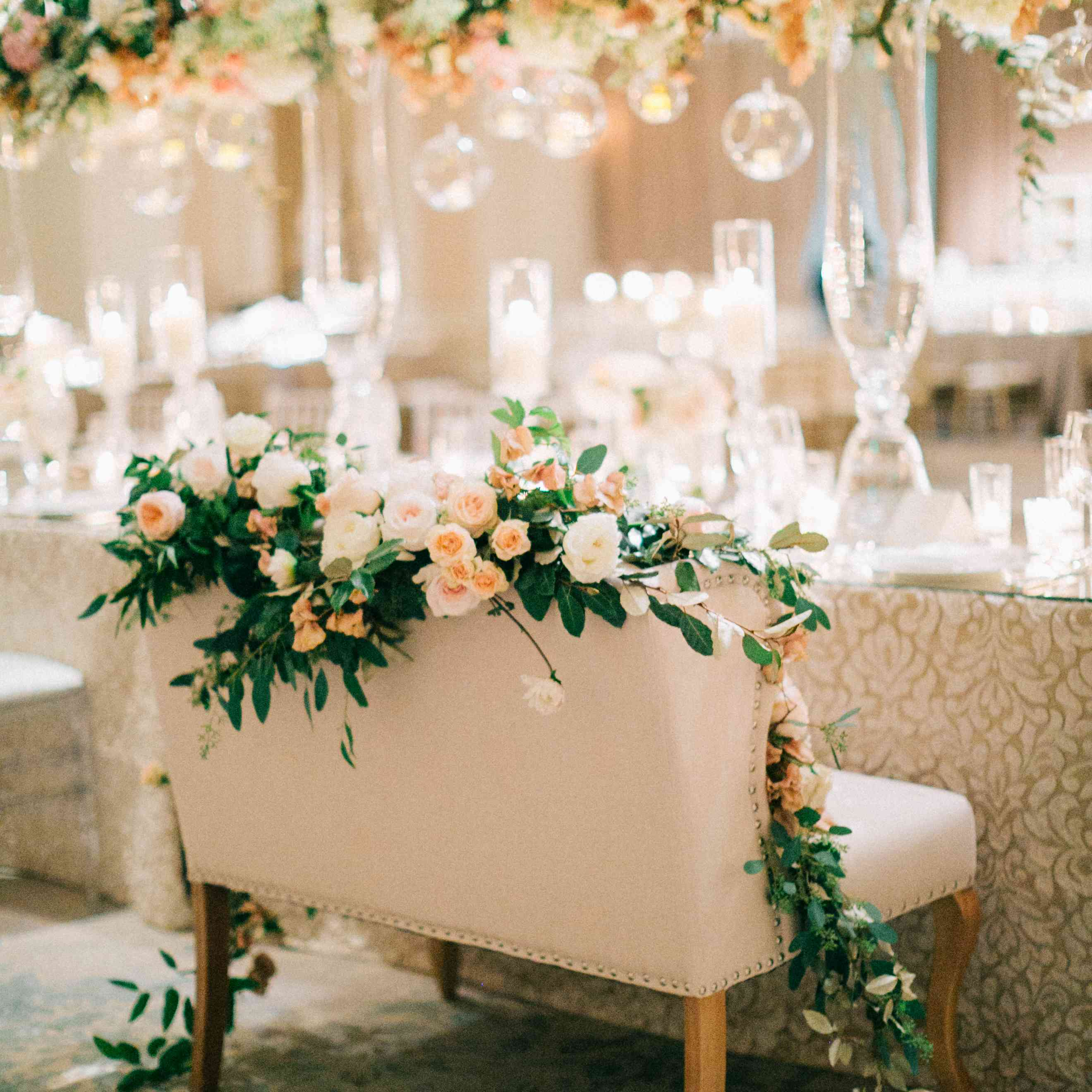 Flowers covering chair at reception