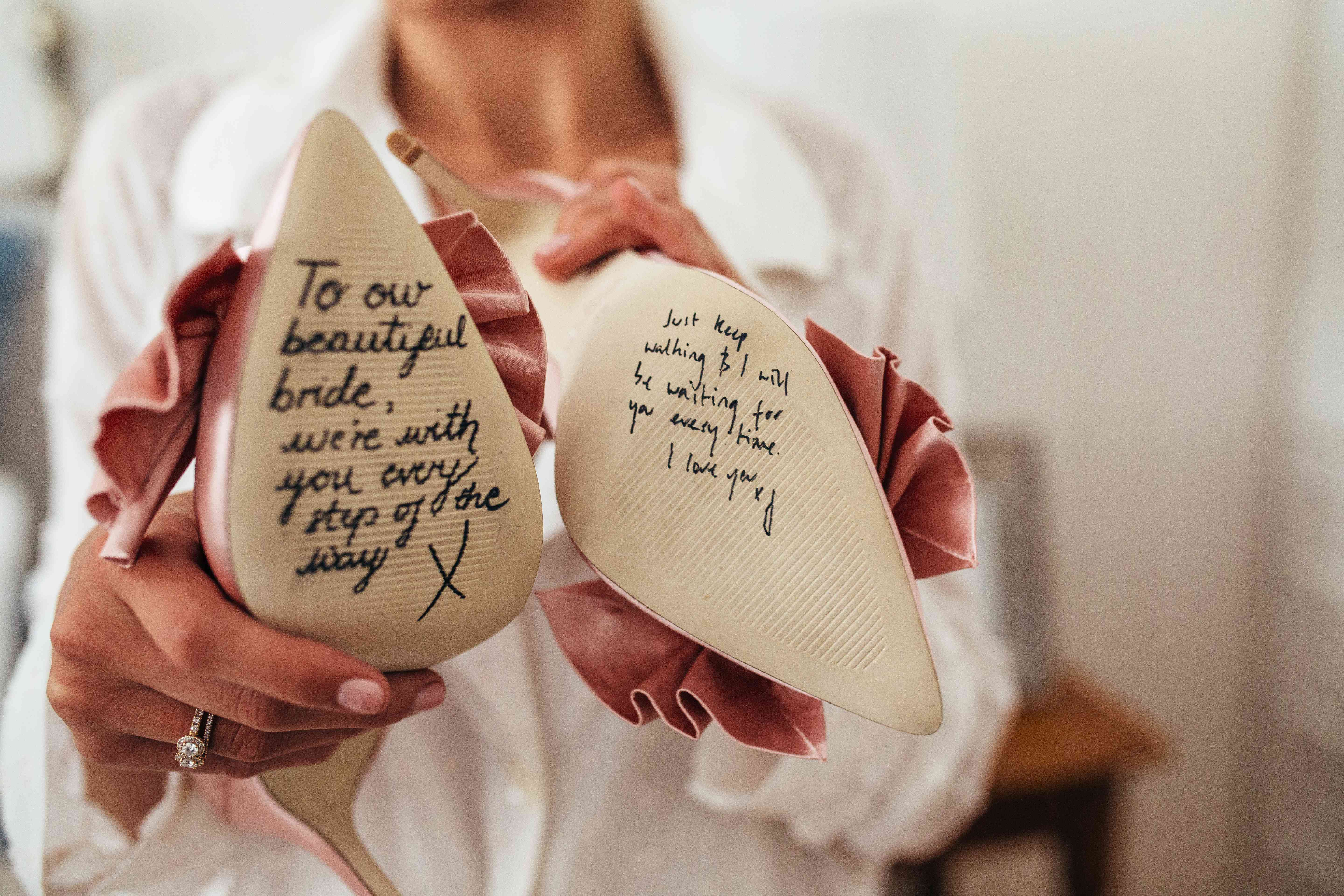 Love Note on Bride's Shoes