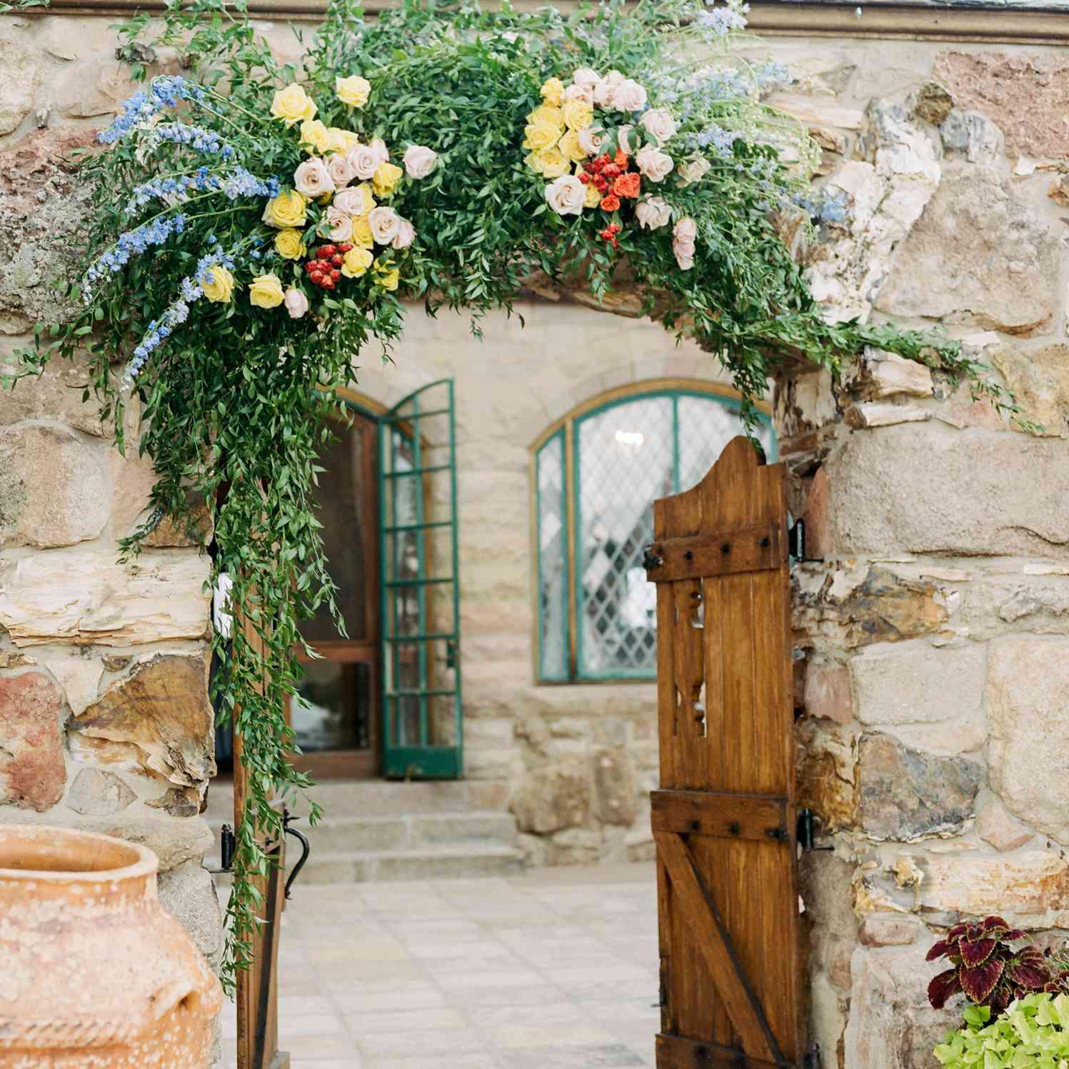 reception entryway floral arch