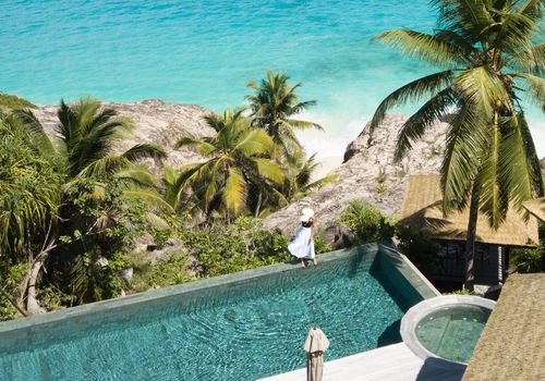 white sand beaches, blue water, pool, destination honeymoon travel, palm trees, tropical