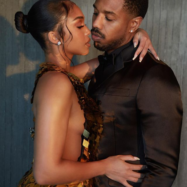 Lori Harvey faces boyfriend Michael B. Jordan in an artistic photograph of the two dressed in Prada.
