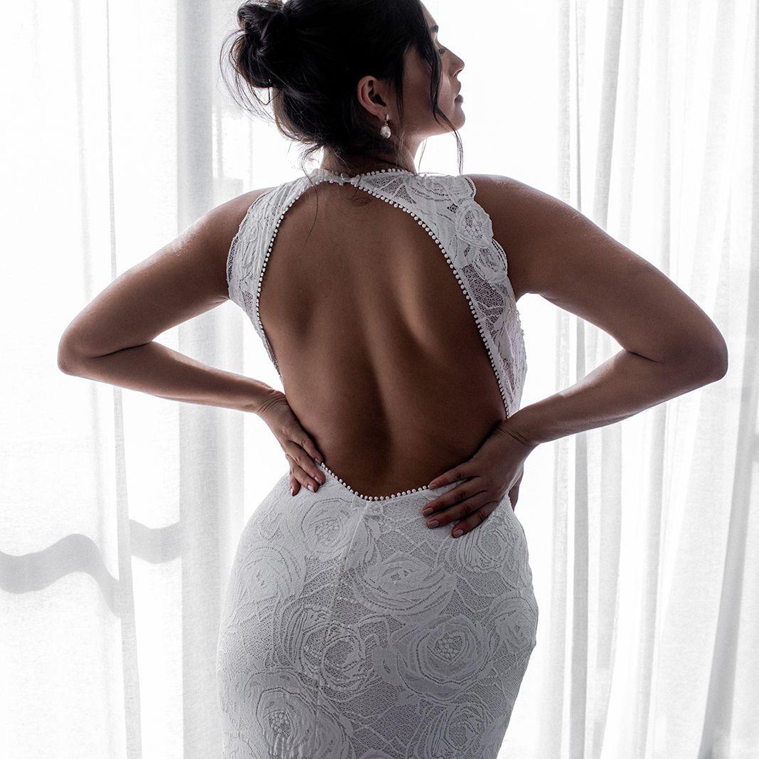Alexandra Rose high neckline wedding dress