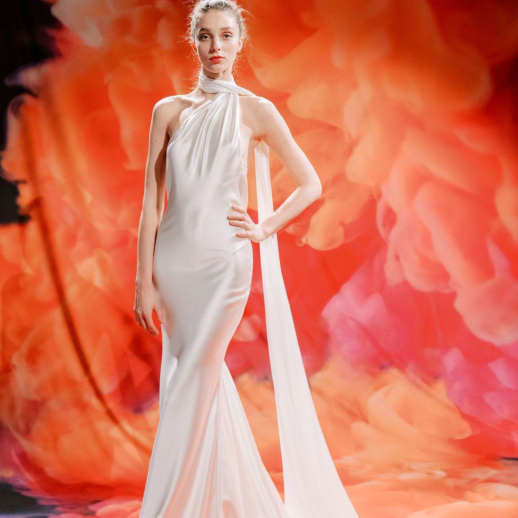 Model in satin wedding gown